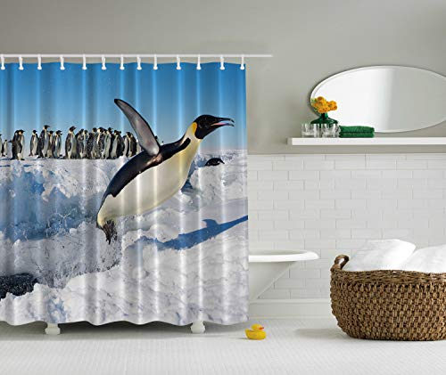 Penguins Noth Pole Wildlife Shower Curtain Swimming Flying Dancing Penguin Family Group Icebergs Antarctica Arctic Bird Art Picture Nature Prints Home Bath Decor Polyester Fabric, Blue Black