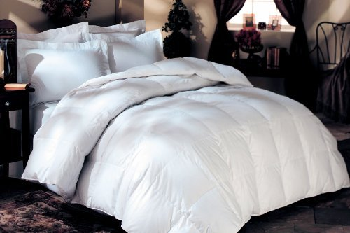 GOOSE DOWN COMFORTER - 1200 Thread-Count QUEEN Size Siberian GOOSE DOWN Comforter, WHITE SOLID, 100% Egyptian Cotton 750FP, 50Oz