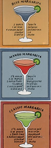 Three Margarita Recipes Tiles or Coasters (Blue-, Mango-, Classic- Margaritas) ()