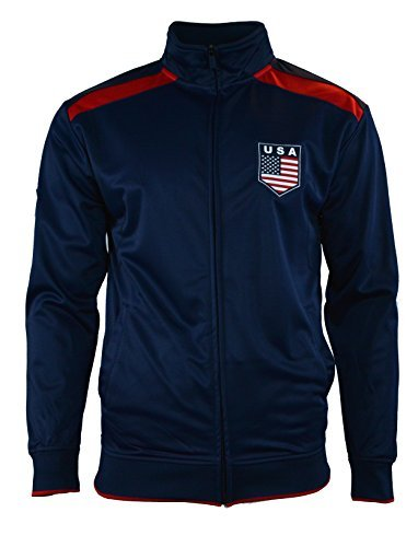 Rhinox Adult USA Soccer Football Track Jacket, BLUE J1Q15 - Small