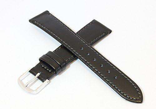 日本製 19mm 牛革カーフ素材 ブラック 黒 時計バンド 薄手スタンダードタイプ シルバー尾錠/ミモザ社 時計ベルト CMH-A19