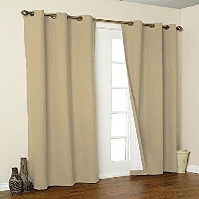 Thermalogic Weathermate Grommet Panels, 160 by 84-Inch, Khaki - Insulated to save engery, reduce noise and light Cotton face with suede backing easy care washable - living-room-soft-furnishings, living-room, draperies-curtains-shades - 41z5yfyNo3L. SS400  -