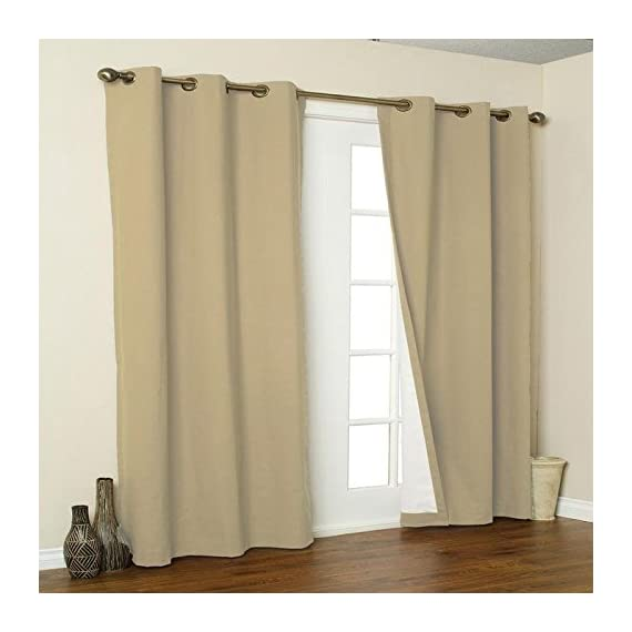 Thermalogic Weathermate Grommet Panels, 160 by 84-Inch, Khaki - Insulated to save engery, reduce noise and light Cotton face with suede backing easy care washable - living-room-soft-furnishings, living-room, draperies-curtains-shades - 41z5yfyNo3L. SS570  -