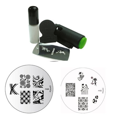 Konad Stamping Nail Art Set Includes Mini Stamper & White Special Polish + TWO Image Plates M63 Houndstooth + M64 ()