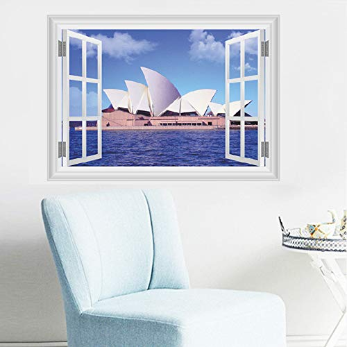 Meaosy Sydney Opera Hous 3D Fake Window Wall Stickers Living Room Bedroom Decoration City Scenery Mural Art Landscape Home Decals