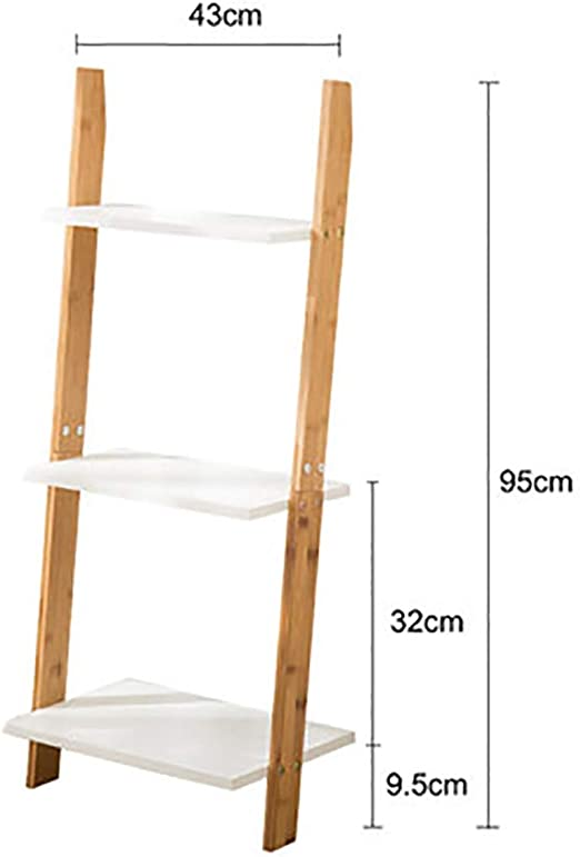 MShelf Blanco Escalera Estantería, Bambú Almacenamiento Estante Unidad Piso Pie Pared Soporte De La Flor Rack para Sala De Estar, Dormitorio-a 3 Nivel: Amazon.es: Hogar