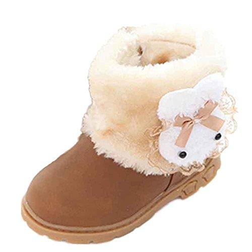 OverDose Baby-Mädchen nette Winter-Baby-Kind-Art-Baumwollaufladung Warm Schnee stiefel Schuhe (21, Gelb)