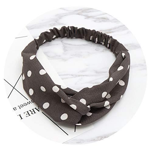 Women Hair Accessories Literary Wave Point Headbands Round Dot Headwear,Brown