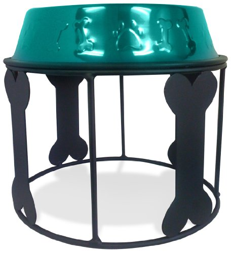 Platinum Pets 6.25 Cup Single Bones and Stripes Diner Stand with Teal No-Tip Embossed Bowl, My Pet Supplies