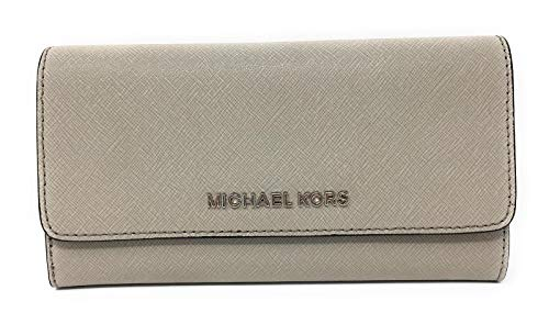 Michael Kors Jet Set Travel Large Trifold Leather Wallet Cement