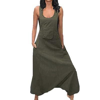 Bolsillo de Mujer Color sólido Mono Bib Pantalones Largos Mamelucos: Ropa y accesorios