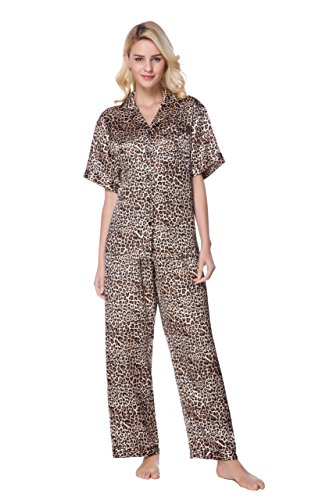Sunrise Women's Short Sleeve Classtic Satin Pajama Set (XX-Large, Leopard)