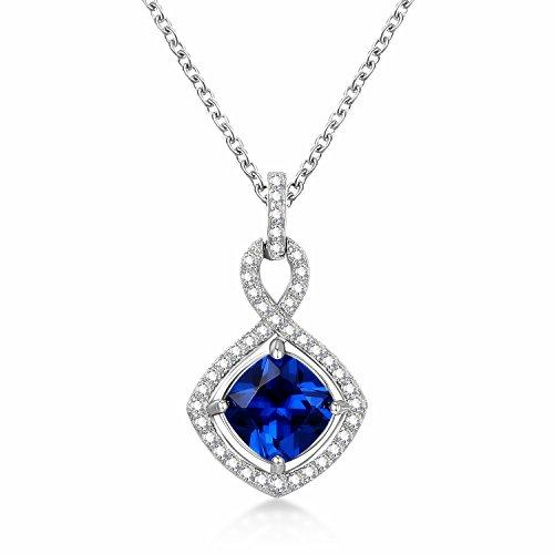 Sapphire blue pendants amazon guqiguli sterling silver created blue sapphire gemstone jewelry infinity pendant necklace for women 18 aloadofball Gallery