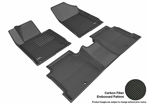 3D MAXpider Custom Fit Complete Floor Mat Set for Select Hyundai Sonata Models - Kagu Rubber (Black)