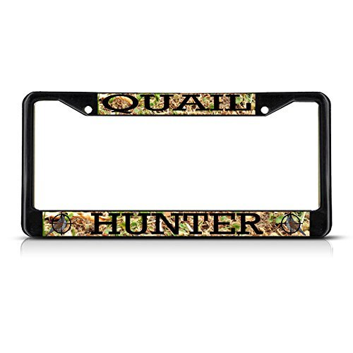 (Ralally Quail Animal Hunting Metal License Plate Frame Two Holes Black)