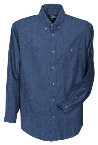 Tri-Mountain 100% Cotton Denim Shirt - 829 - Shirt Stonewash Long Denim Sleeve