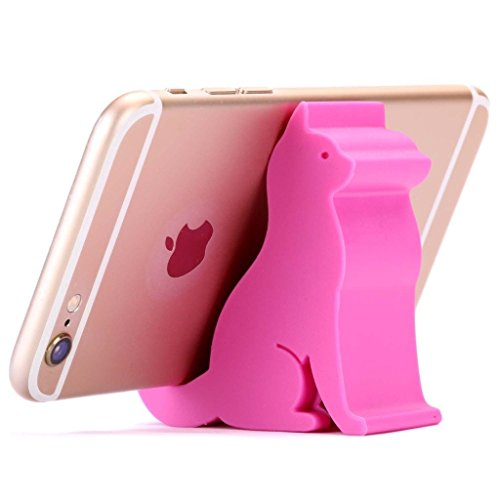 Plinrise Mini Cat Shape Cute Cell Phone Mounts Candy Color Creative IPad Set For Iphone Ipad Samsung Phone Tablet Plate PC (Rose (3g Red Phone)