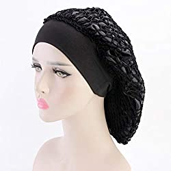 Women's Vintage Full Head Crochet Hair Net Snood Sleep Bonnet Cap Hair Accessories (Black)