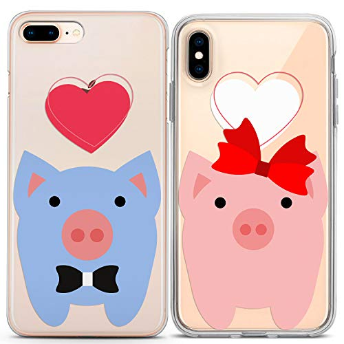 Lex Altern Couple iPhone Case Xs Max X Xr 10 8 Plus 7 6s 6 SE 5s 5 TPU Clear Cute Pig Gift Apple Girlfriend Love Relationship Cover Anniversary Heart Bow Print Boyfriend Protective Matching Animal -
