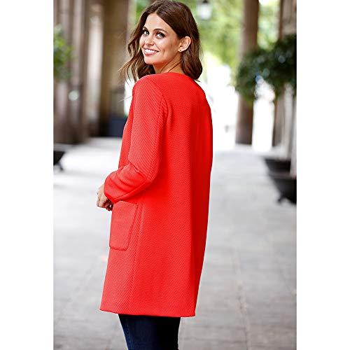 De Avec En Rouge 022722 Poches Manteau Corail Coton Élastique Venca Piqué q4gwFn1