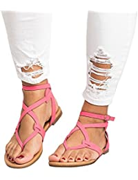 5223dac1ffeb Womens Casual Clip Toe Flat Thong Sandals Strappy Ankle Strap Buckle  Leather Sandals Shoes
