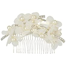 EleQueen Women's Silver-tone Austrian Crystal Simulated Pearl Handmade Lace Flower Bridal Hair Comb Clear