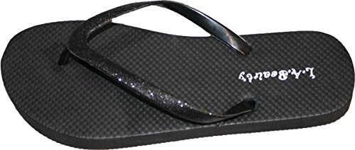 Flip With and Footbed Glitter Womens Comportable Straps Style Flop Black Cool Looking FZwwxU