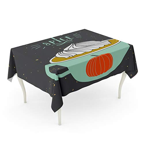 Tarolo Rectangle Tablecloth 60 x 84 Inch Coffee Autumn Pumpkin Spice Holiday Greeting Christmas Cocoa Cozy Cup Cute Table ()