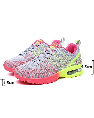 de La Running Amortiguador Aire Al Amarillo Cordones Aire con Zapatos Superior Transpirable de Gris Universidad Libre Mujeres Colorido Viajes Malla Zapatos Adolescentes de wqU8nAxRzv