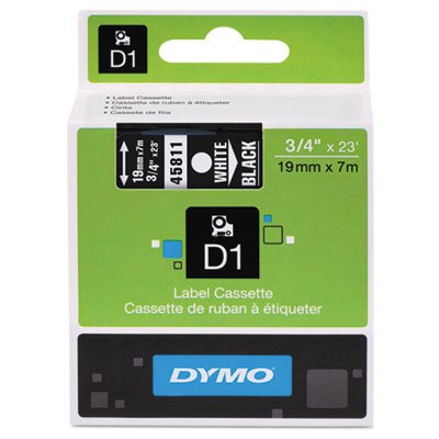 D1 Standard Tape Cartridge for Dymo Label Makers, 3/4in x 23ft, White on Black, Sold as 1 Each
