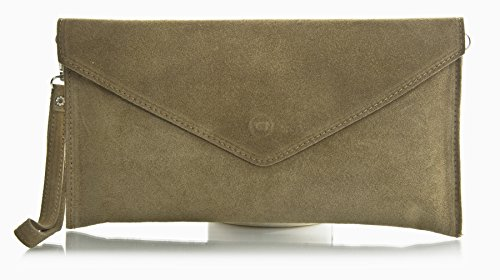 Big Handbag Shop Womens Real Italian Suede Leather Envelope Clutch Bag with Dust Bag - Deep Taupe (BH392)