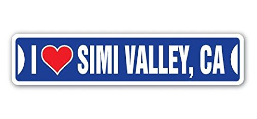 I LOVE SIMI VALLEY, CALIFORNIA Street Sign Ca City State Us Wall Road DÃcor Gift - 22'' Long Sticker Graphic - Auto, Wall, Laptop, Cell - Simi California Valley