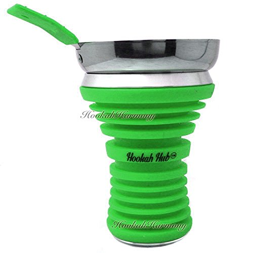 The HOOKAH HUB GREEN Shisha Bowl Silicone with Metal Screen Wind Cover Charcoal Screen
