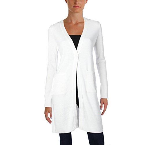 T Tahari Womens Desma Velvet Trim Open Front Cardigan Sweater Ivory XS Trim Open Cardigan