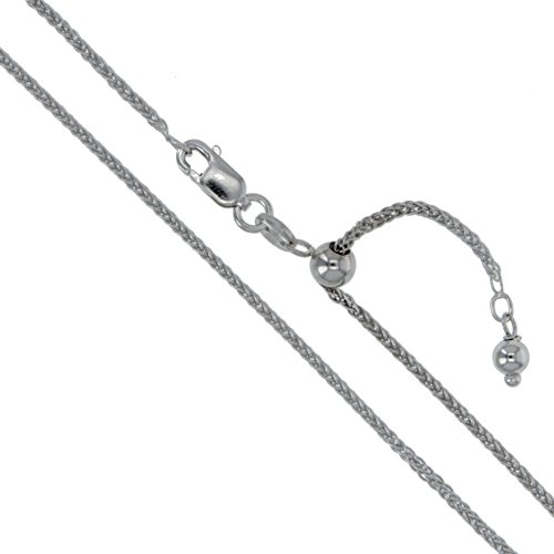 (Rhodium Plated Sterling Silver Adjustable Wheat Chain 1.1mm Solid 925 Italy New Foxtail Spiga Necklace 22