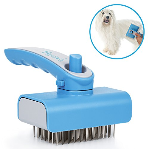 Dog Hair Brush, Hipidog Self-cleaning Slicker Brush Removes Tangled Knots, Loose Short and Long Hair with Massaging Effect for Dogs & Cats