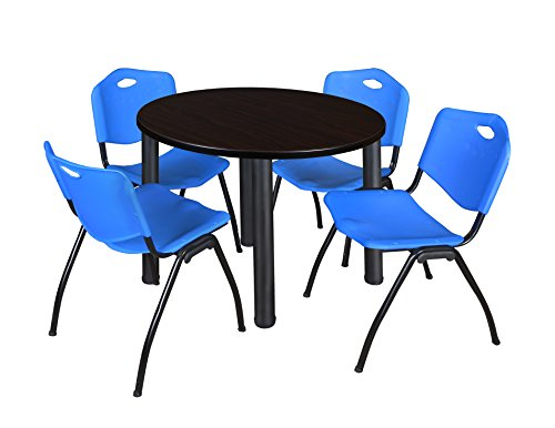 """Kee 36"""" Round Breakroom Table- Mocha Walnut/ Black & 4 'M' Stack Chairs- Blue"""