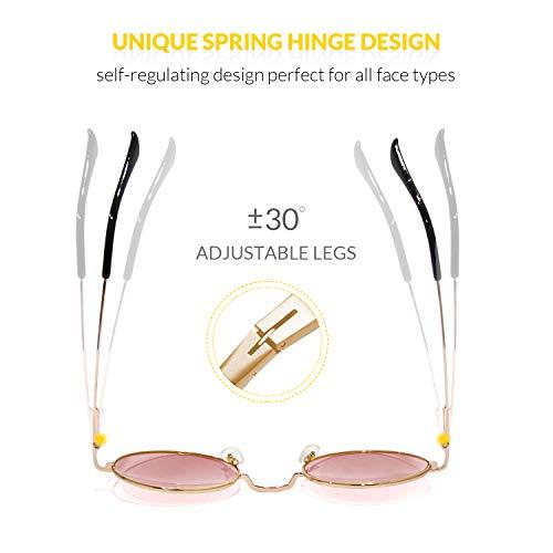 sol con marco lente retro de y Lente Marco Rosa de UV400 Finomo Gafas hombres para metal Circle Vintage redondas Oro mujeres wBWEq