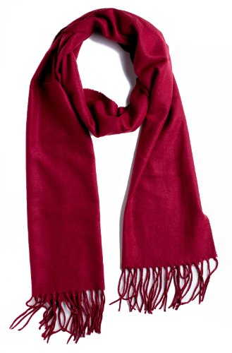 Mens Winter Scarves - Plum Feathers Super Soft Luxurious Cashmere Winter Scarf (Burgundy)