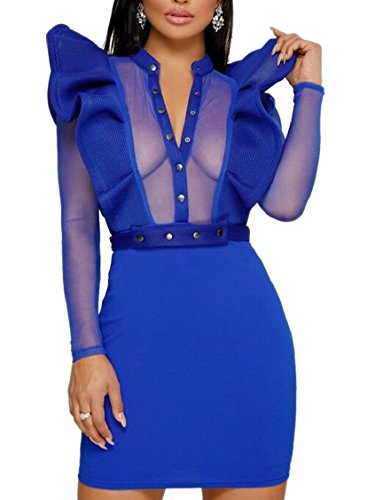 Sleeve V Bodycon Mesh Ruffle Neck Womens Dress 2 Sheer Mini Party Jaycargogo Long Xf6qAw