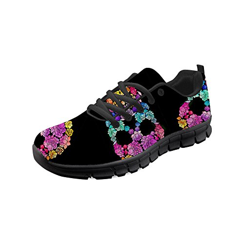 1 HUGS Lightweight Running up for Pattern Walking Lace Shoes Men IDEA Women Sneakers Skeleton Skull ZWHqUr6Z