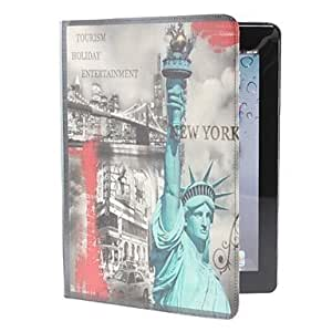 hao Retro Statue of Liberty Pattern PU Leather Case for iPad 2/3/4