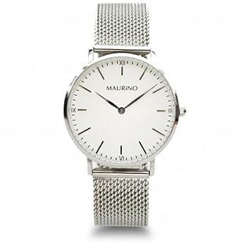 MAURINO Damen Armbanduhr Analog Quarz Edelstahl Silber 36mm M01621