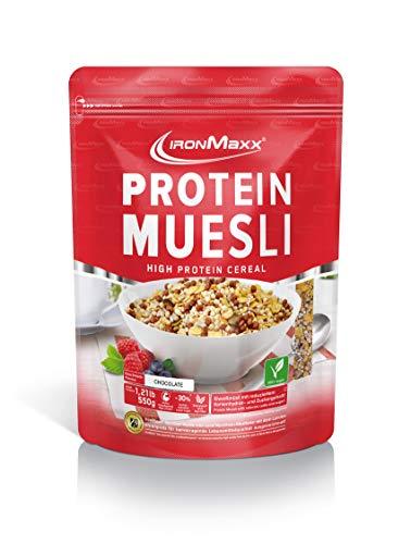 IronMaxx Protein Müsli Schokolade – Veganes Fitness Müsli laktosefrei und glutenfrei – Eiweiß Müsli mit Schokoladengeschmack – 1 x 550 g