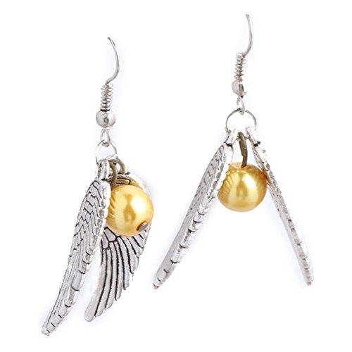 Harry Potter Snitch Earrings Wings Golden Symbol Dangle Earrings (Harry Potter Snitch)