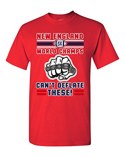 World Champs Can't Deflate These Football Sports DT Adult T-Shirt Tee (Small, Red)