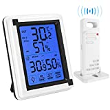 Brifit Indoor Outdoor Thermometer Humidity Monitor, Wireless Hygrometer with Touchscreen Backlight, Humidity Gauge Meter for Home, Office, Greenhouse