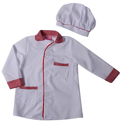 Kids White/Red Chef Jacket & Hat Size 2/4