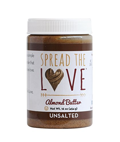 Creamy Spread - Spread The Love UNSALTED Almond Butter, 16 Ounce (All Natural, Vegan, Gluten-free, Creamy, No added salt, No added sugar, No palm fruit oil, Not pasteurized with PPO)