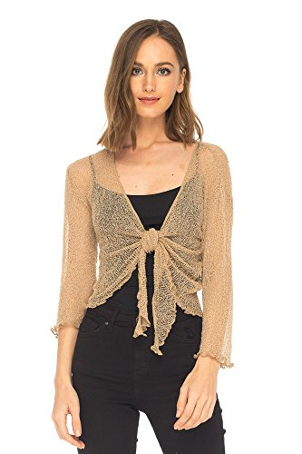 SHU-SHI Womens Sheer Shrug Tie Top Cardigan Lightweight Knit,Tan/Beige,One Size ()